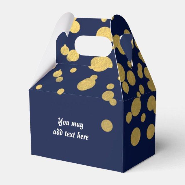 Navy Blue & Gold Foil Confetti Party Favour Boxes