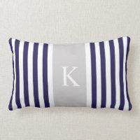 Stripes Monogram Throw Pillow