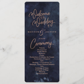 Navy Blue Watercolor & Rose Gold Wedding Program Programme