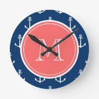 Anchors Pattern Monogram Clock