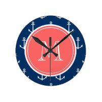 Anchors Pattern Monogram Clock