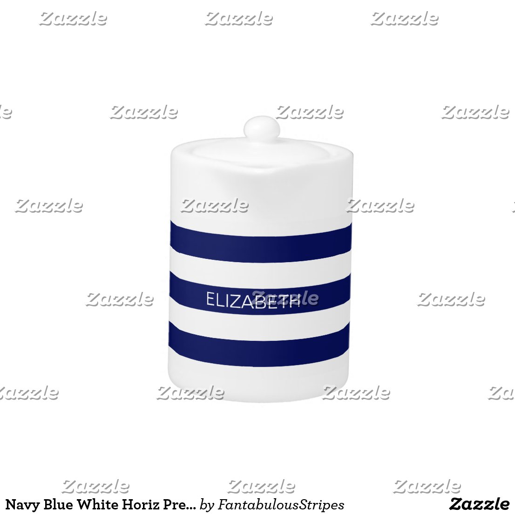 Navy Monogram Tea Pot