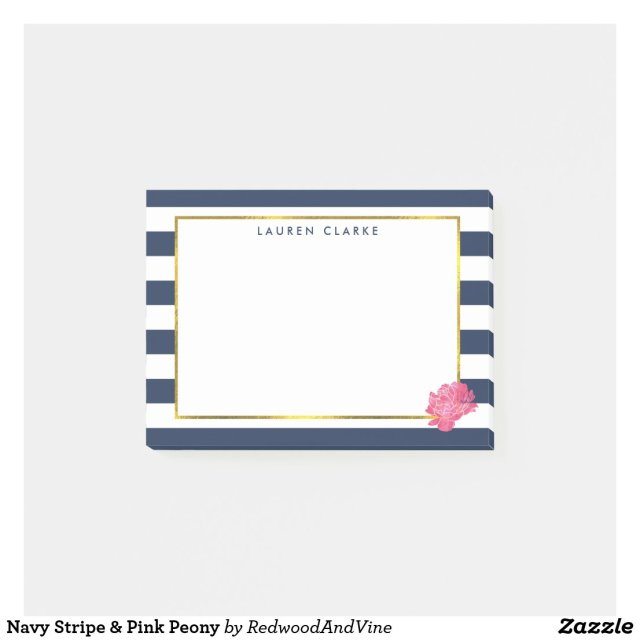 Navy Stripe & Pink Peony Post It Notes