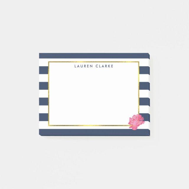 Navy Stripe & Pink Peony Post It Notes