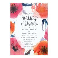 Navy Watercolor Floral Wedding Invite