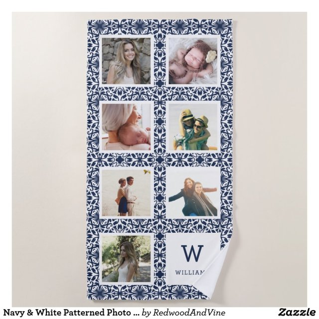 Navy & White Patterned Photo Collage Monogram Beach Towel