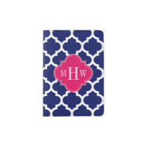 Navy Wht Moroccan #5 Raspberry 3 Initial Monogram Passport Holder