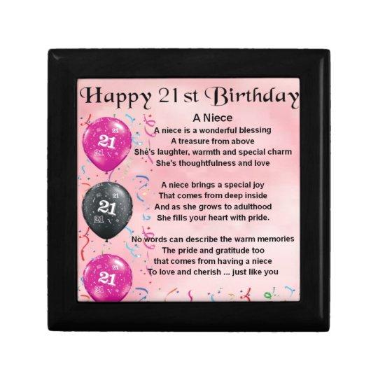 Niece Poem 21st Birthday Gift Box Zazzle Co Uk