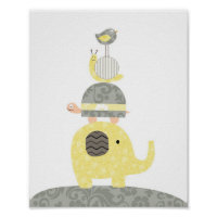 Nursery art illustration elephant bird turtle poster