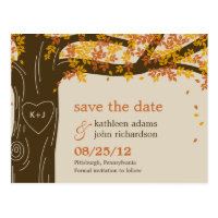 Oak Tree Fall Wedding Save The Date Postcard