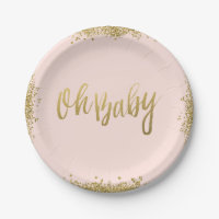 Oh Baby Blush Pink Gold Glitter Baby Shower 7 Inch Paper Plate