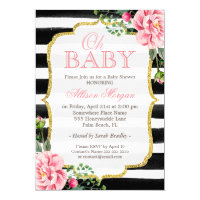 Oh Baby Shower Floral Gold Black White Stripes Card