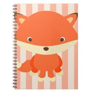 Orange & Tan Stripes, Sitting Fox Notebook