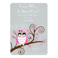 Owl Theme Baby Shower Card