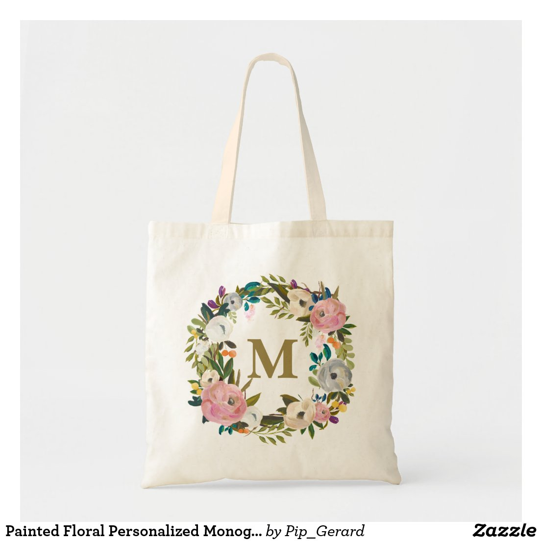 Floral Personalised Monogram Canvas Bag