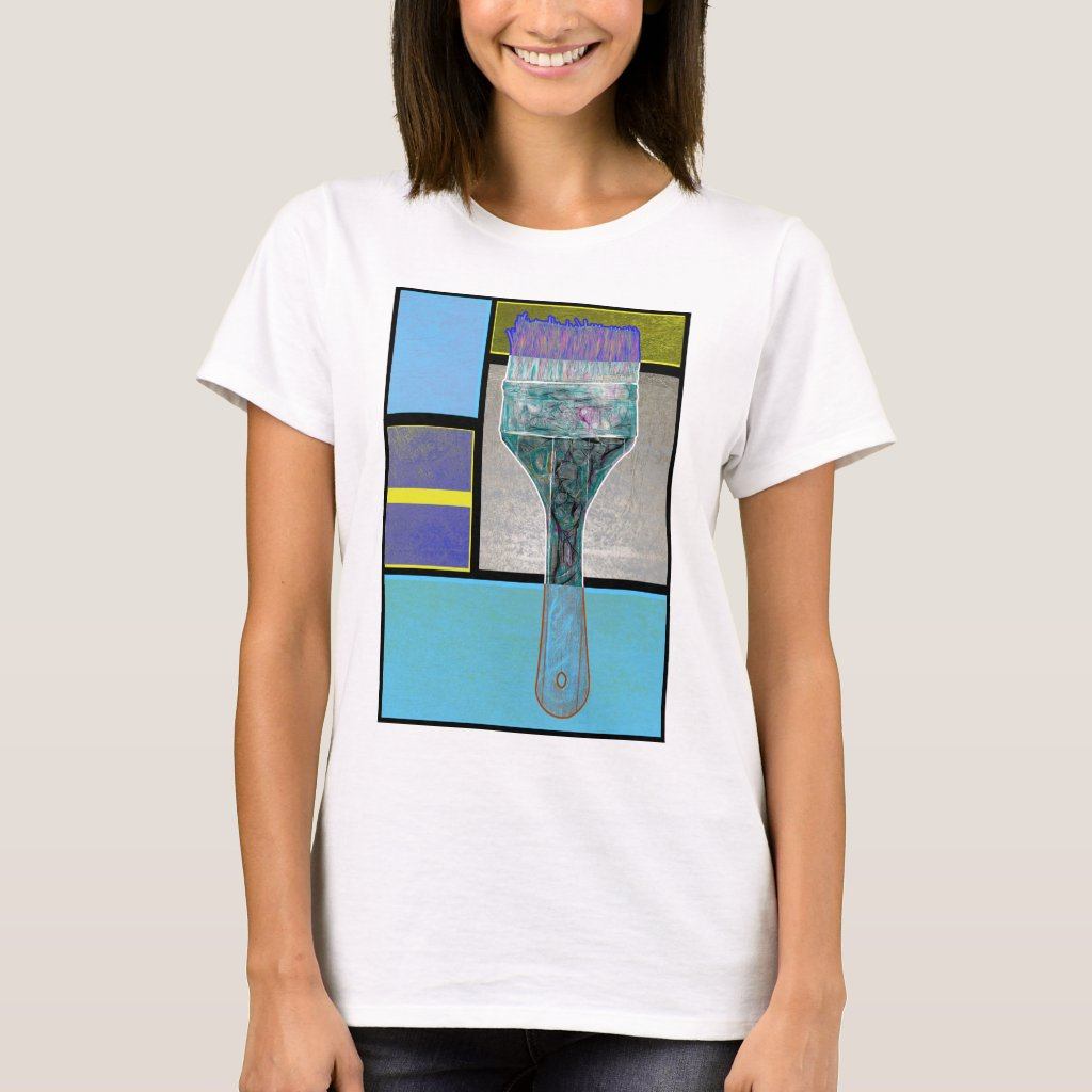 Pale Blue Pattern And Paintbrush T-Shirt