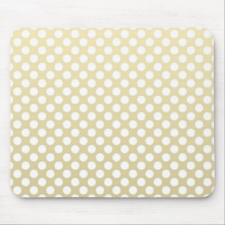 Pale Gold and White Polka Dots Mouse Mat