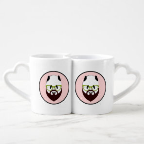 Panda Bear with a Beard Coffee Mug Set