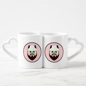 Panda Bear with a Beard Coffee Mug Set