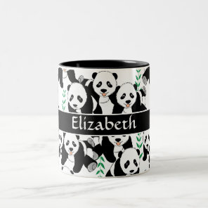 Panda Bears Graphic Pattern to Personalise Two-Tone Coffee Mug