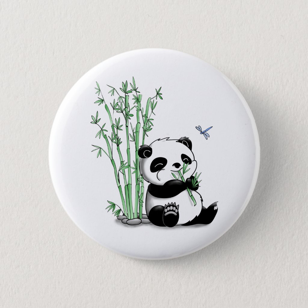 Panda Eating Bamboo Badge