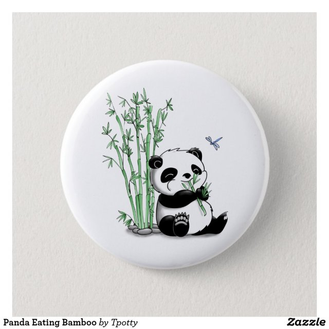Panda Eating Bamboo Badge
