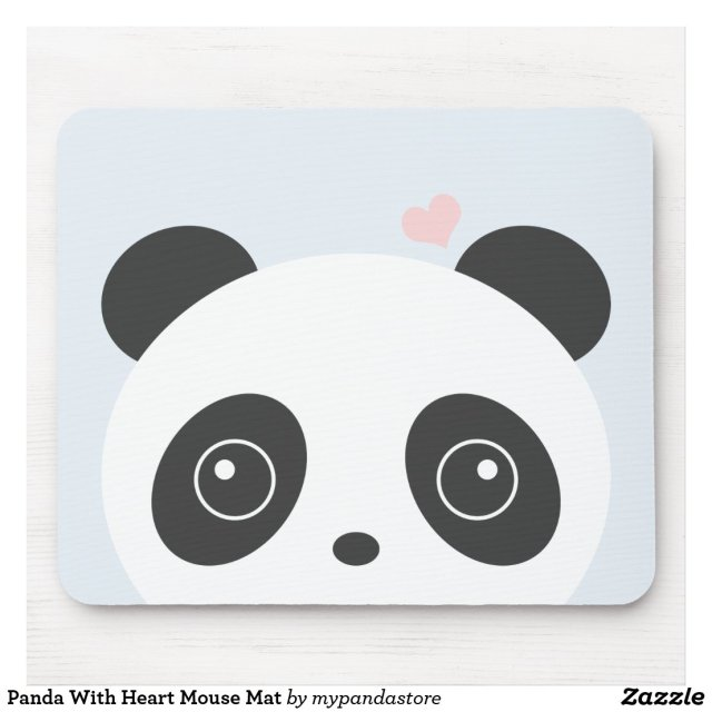 Panda With Heart Mouse Mat