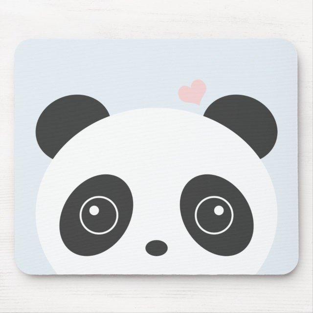 Panda With Heart Mouse Mat