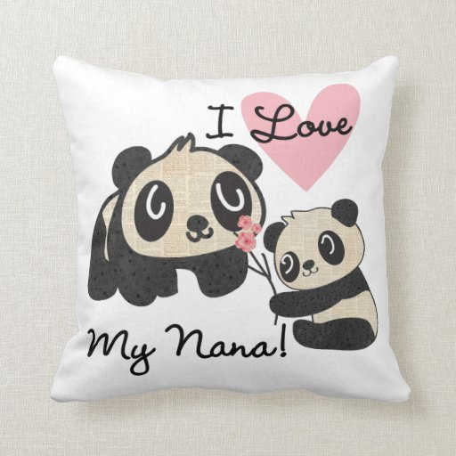 Pandas I Love My Nana Cushion