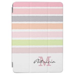Pastel Watercolors Stripes Custom Monogram iPad Air Cover