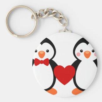 Penguins in Love Keyring