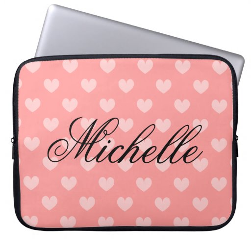 Personalise coral pink heart pattern laptop sleeve