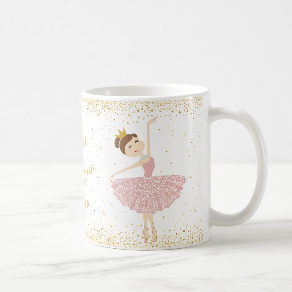 personalise little ballerina name mug