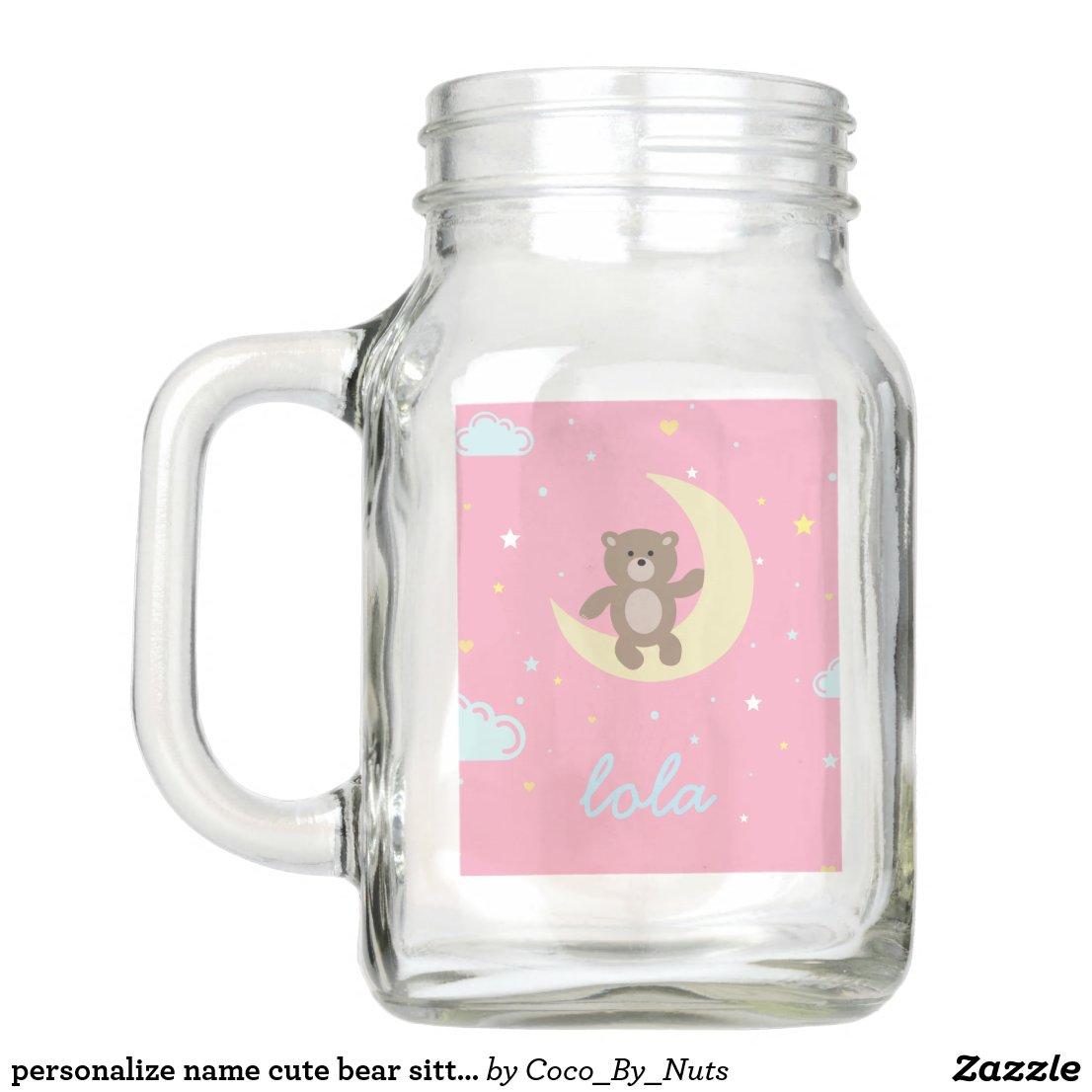 personalise name cute bear sitting on moon mason jar