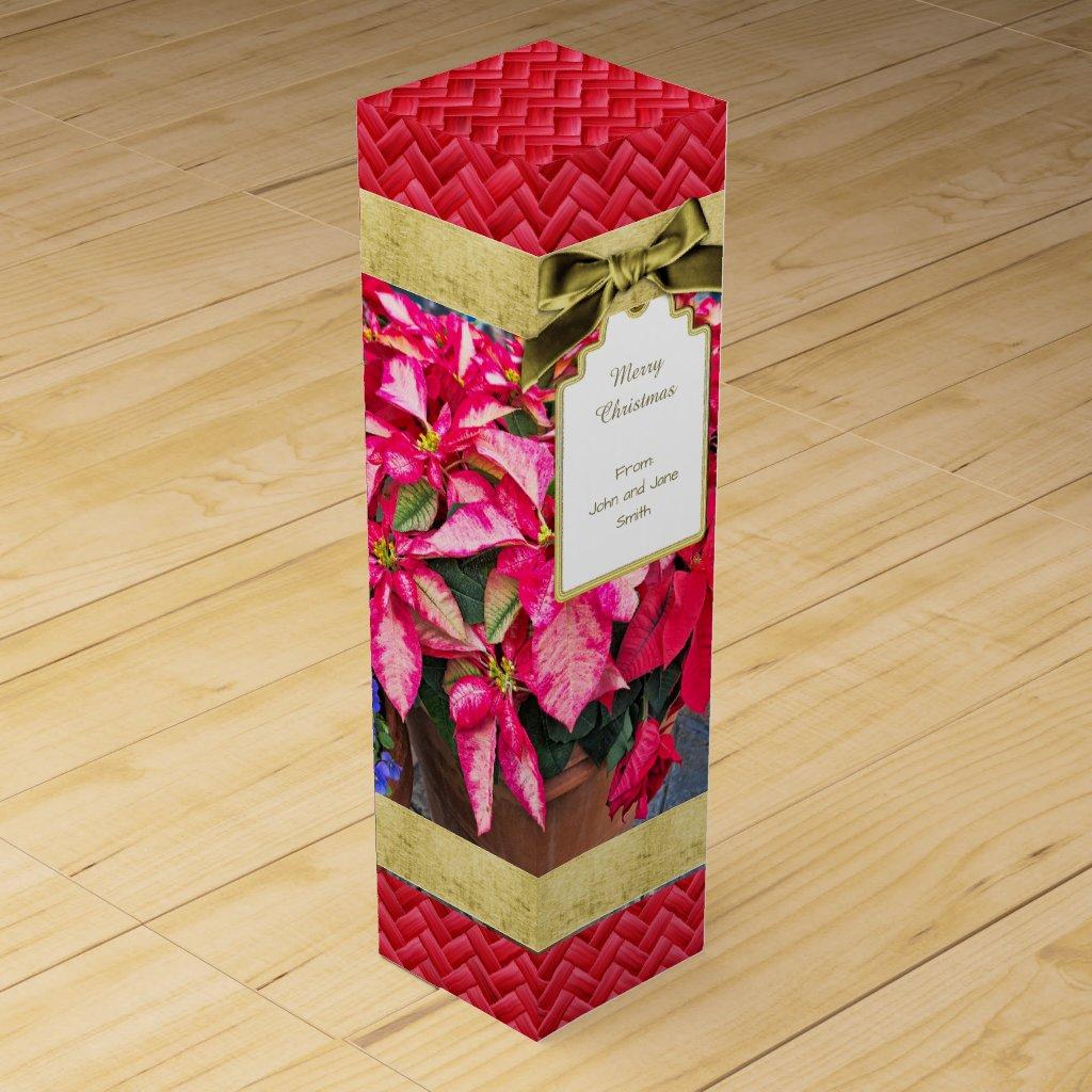 Poinsettia Christmas Wine Box