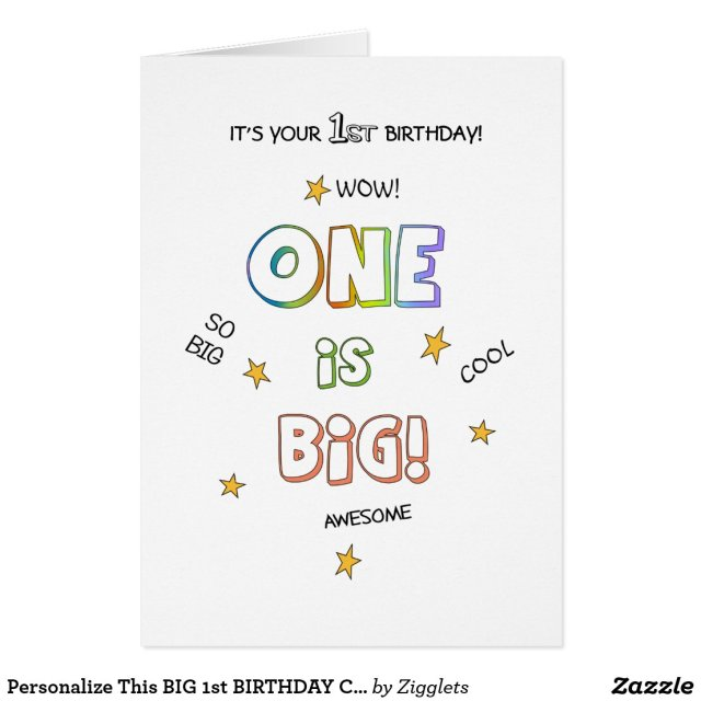 Personalise This BIG 1st BIRTHDAY Card