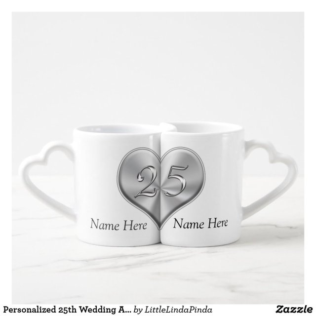 Personalised 25th Wedding Anniversary Mugs