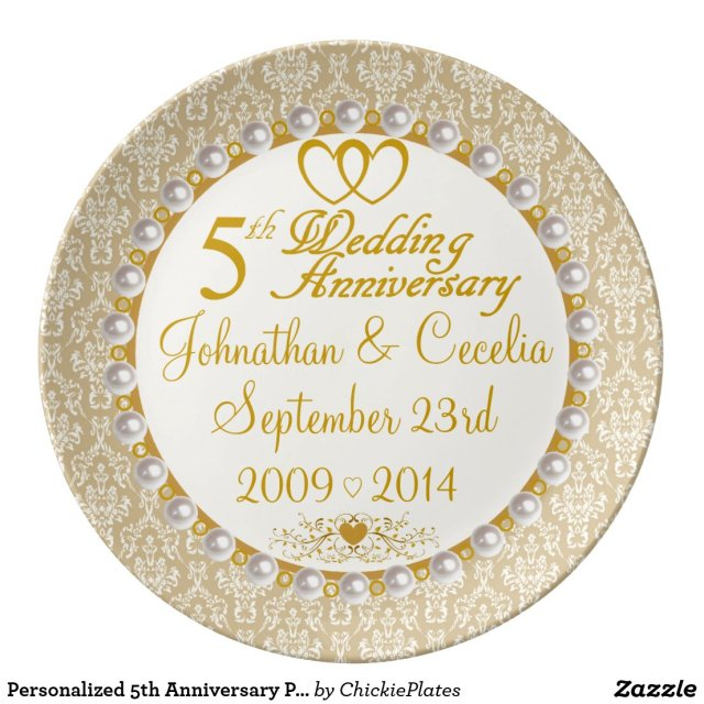 Personalised 5th Anniversary Porcelain Plate