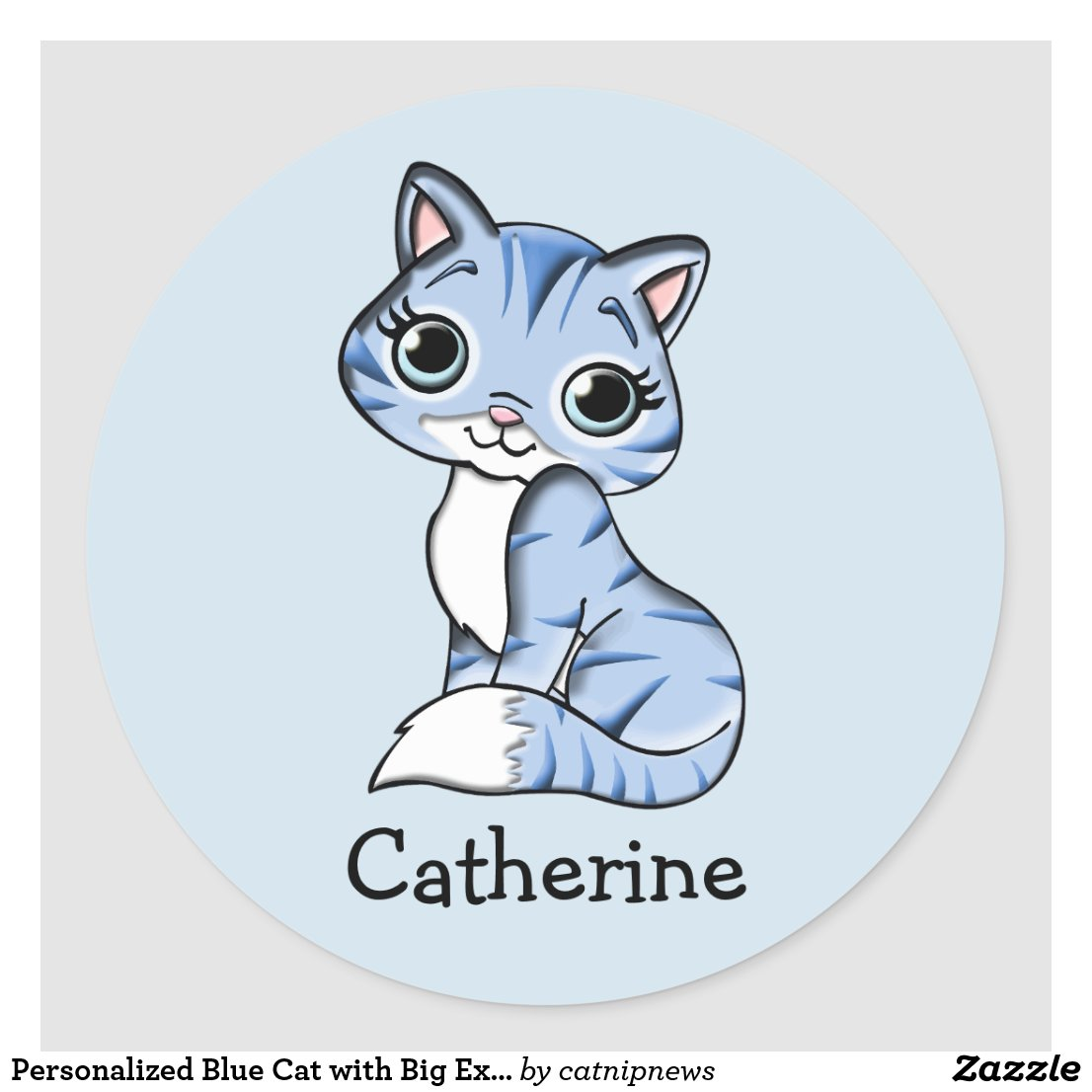 Personalised Blue Cat with Big Expressive Eyes Classic Round Sticker