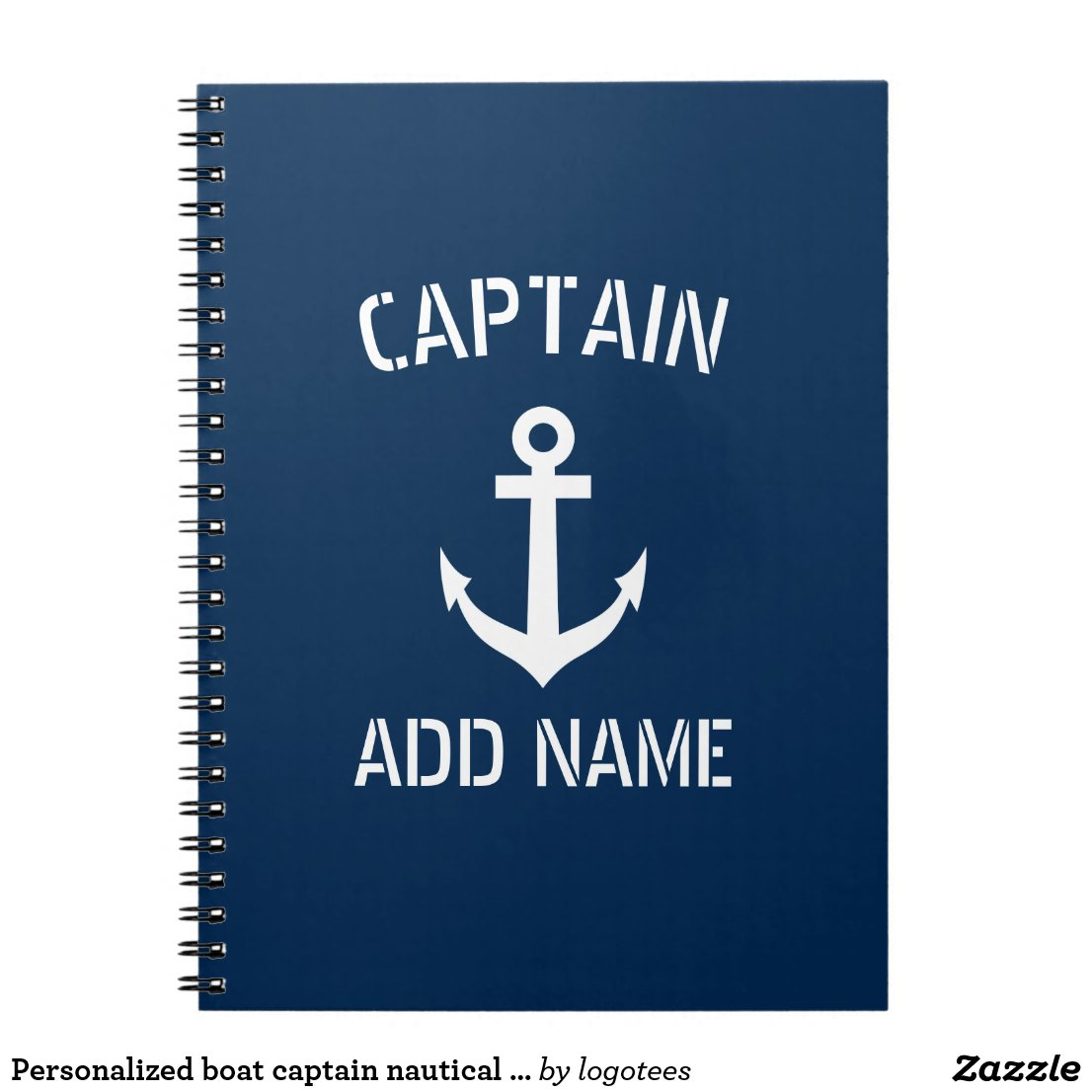 Personalised boat captain nautical anchor notebook