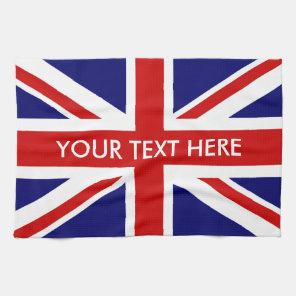 Personalised British Union Jack flag kitchen towel