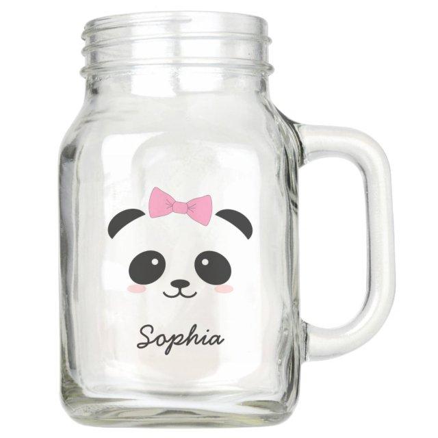 personalised cute animal panda girly mason jar