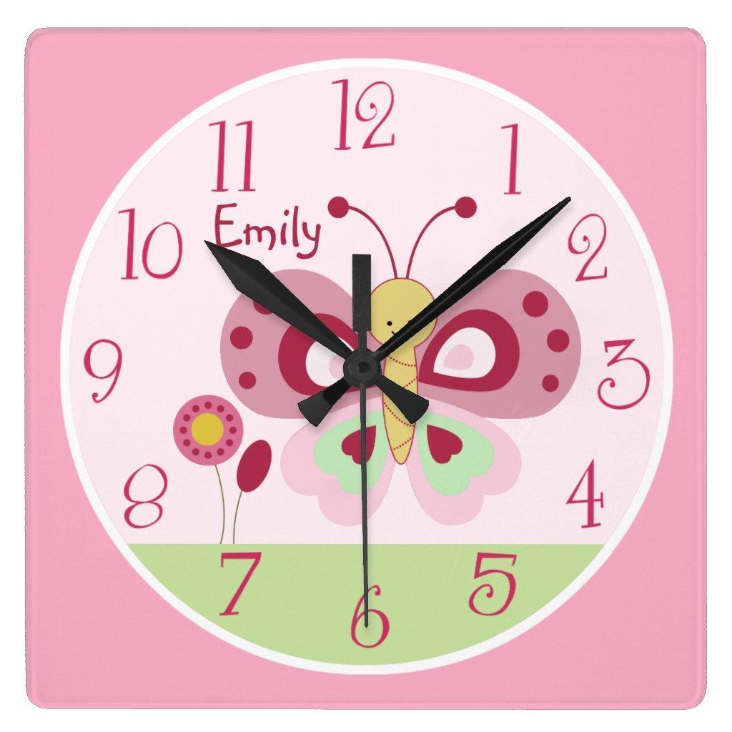 Personalised Butterfly Nursery Clock