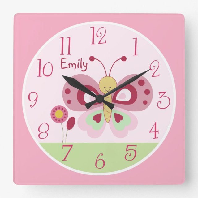 Personalised Butterfly Nursery Clock