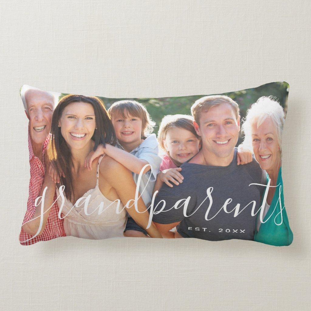 Personalised Grandparents Custom Photo Lumbar Cushion