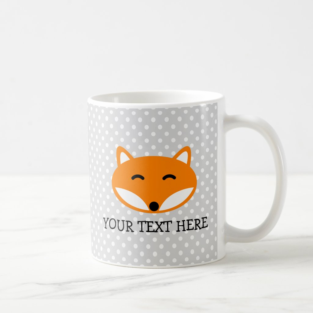 Personalised kids mug with cute red fox design
