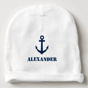 Personalised name baby hat with nautical anchor baby beanie
