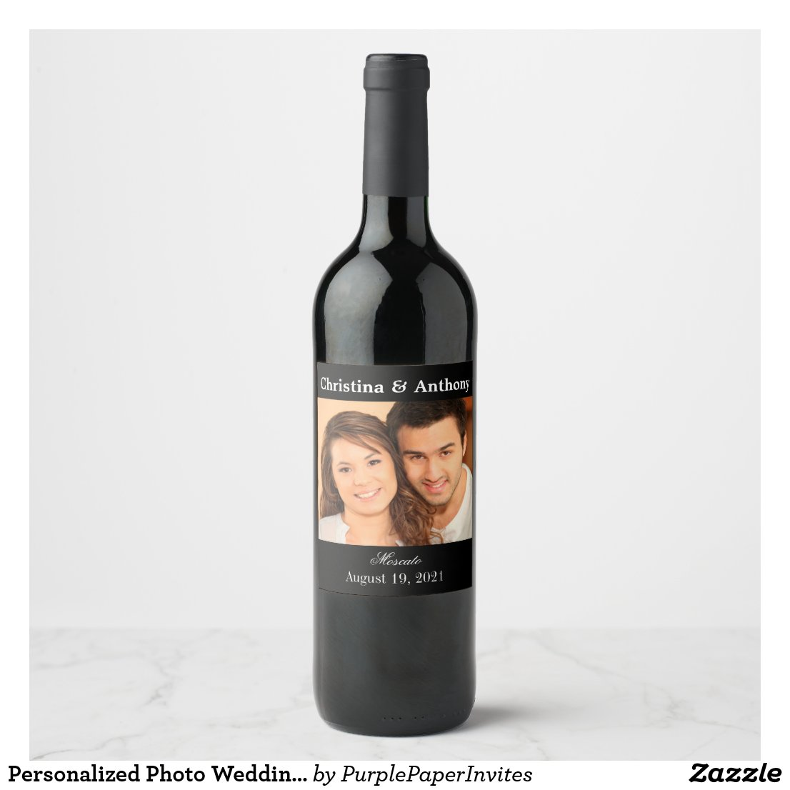Personalised Photo Wedding Wine Favour Label