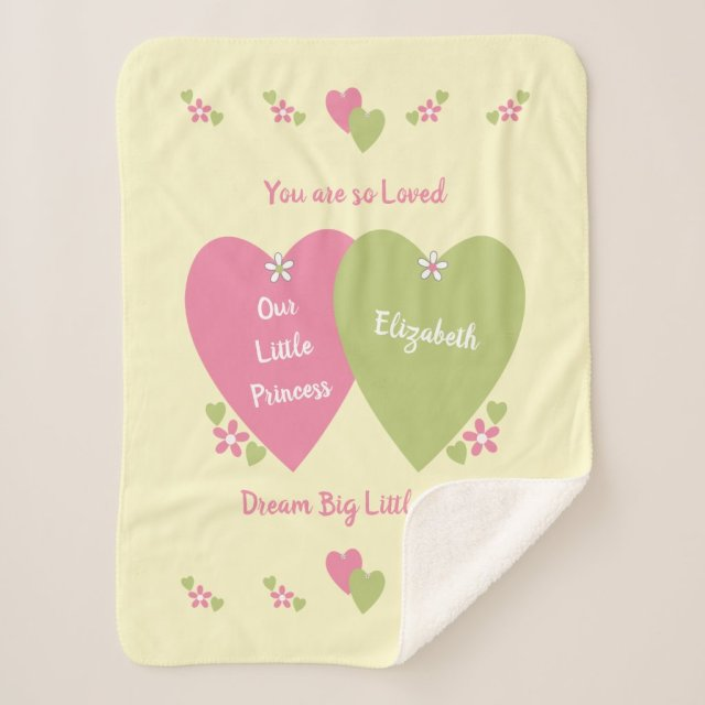 Personalised Pink and green hearts baby name Sherpa Blanket