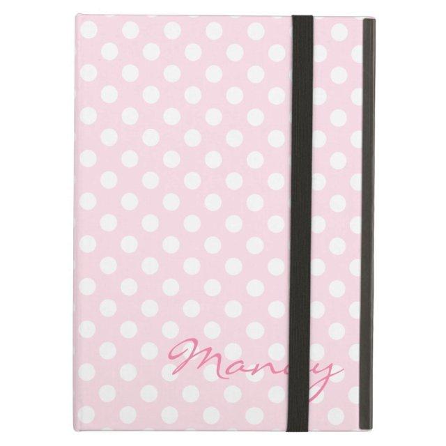 Personalised pink polka dot iPad case